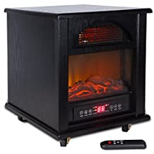 Della Portable Electric Fireplace Stove Flame Heater w/ Remote Control, 1500-Watt, Black