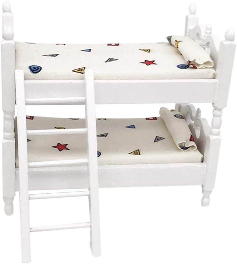 G0lden&Mang0 1 PC 1:12 Dollhouse Furniture,Handmade Dollhouse Miniature Children Bedroom Furniture Bunk Bed with Ladder, Dollhouse Décor Accessories for Kids