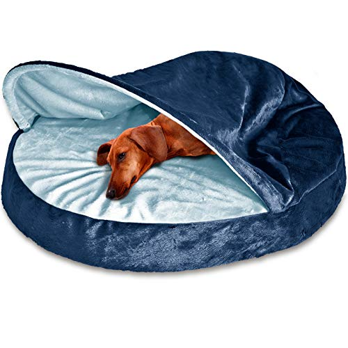 - FurHaven Pet Dog Bed | Orthopedic Round Microvelvet Snuggery Burrow Pet Bed for Dogs & Cats, Navy, 26-Inch