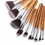 10pcs Natural Bamboo Vegan Makeup Brushes Professional Foundation Contour Blending Concealer Cosmetics Brush Tool Kit Eye and Face Makeup Brushes …