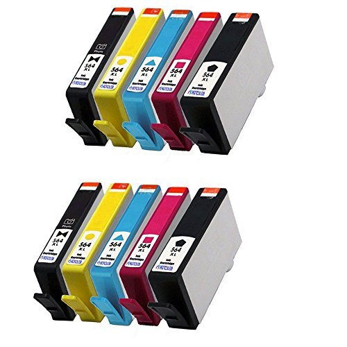 HOTCOLOR 10 Pack (2LB/2SB/2C/2M/2Y) 564XL Ink Cartridge for Photosmart 6510 6512 6515 6520 B210 6525 B209