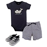 Hudson Baby Boys 3 Piece Bodysuit Short and Shoe Set 0-12 Months Blue Whale (0-3 Months)