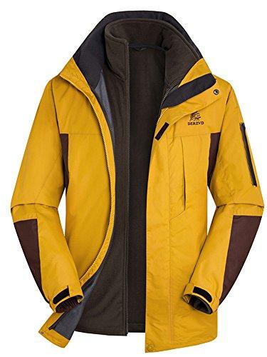 (Oncefirst Men's Full Zip Fleece Warm Waterproof 2 Piece Active Jacket 2XL Yellow)