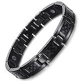 Rainso Mens Titanium Magnetic Therapy Carbon Fiber Black Bracelets for Arthritis Wristband Adjustable (Black)