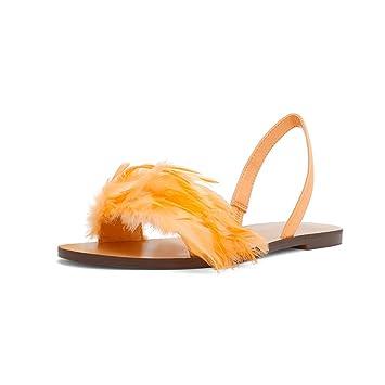 YQQ Zapatos De Playa De Verano Zapatos De Vacaciones Sandalias De Plumas Zapatos Planos Tacones Bajos