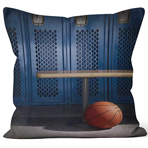 (Nine City Basketball in Locker Room Throw Pillow Cushion Cover,HD Printing Decorative Square Accent Pillow Case,40
