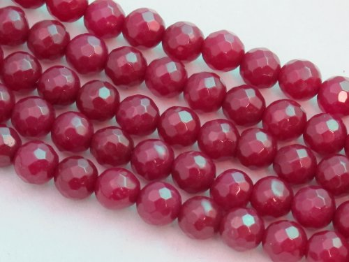 BRCbeads Mountain Jade (Dyed) Dark Red 6mm Faceted Round 15.5'' 62pcs Per Strand (Mountain Jade Beads)