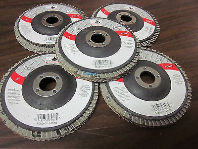 "5pc ALUMINUM OXIDE 40-GRIT 4"" SANDING GRINDING WHEEL FLAP DISC 5/8"" ARBOR ~ NEW from GOLIATH INDUSTRIAL TOOL"