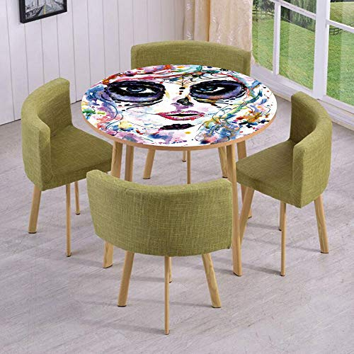 Round Table/Wall/Floor Decal Strikers,Removable,Halloween Girl with Sugar Skull Makeup Watercolor Painting Style Creepy Decorative,for Living Room,Kitchens,Office Decoration for $<!--$17.99-->