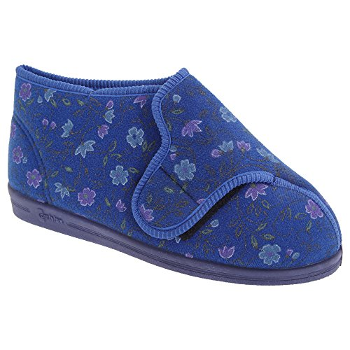 Comfylux Womens/Ladies Betty Superwide Floral Bootee Slippers Wine URSdUVY7