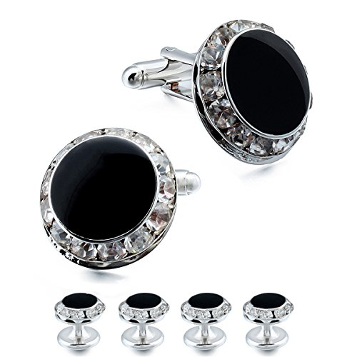 HAWSON Crystal Cuff Links and Studs Set for Mens Tuxedo Shrit Wedding Accessories (Silver)