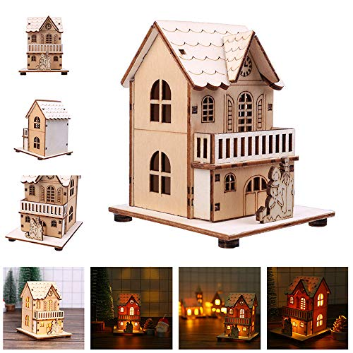 Euone  Wooden House, LED Light Wooden Dolls House Villa Christmas Ornaments Xmas Tree Hanging Decor (C) from Euone