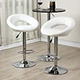 Set of (2) Bar Stools Leather Modern Hydraulic Swivel Dinning Chair Pub Pairs Stool! White #273