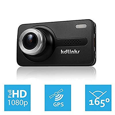 KDLINKS X1 GPS Enabled Full HD 1920x1080 165 Degree Wide Angle Dashboard Camera Recorder Car Dash Cam with Gravity Sensor, WDR Superior Night Model