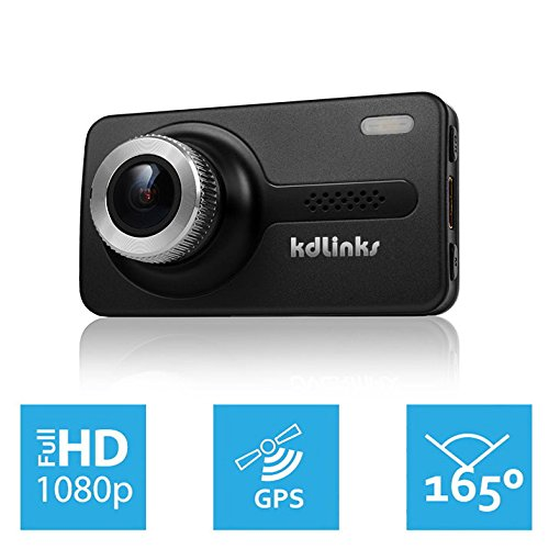 KDLINKS X1 GPS Enabled Full HD 1920x1080 165 Degree Wide Angle Dashboard Camera Recorder Car Dash Cam with Gravity Sensor
