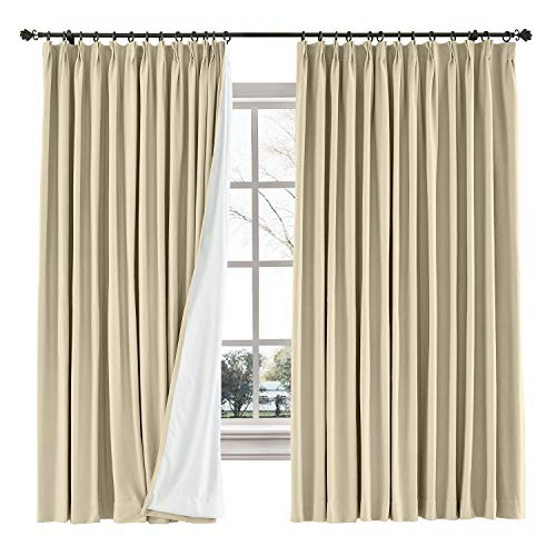 ChadMade Blackout Drape Light Block Curtain Cotton Linen Window Panels Solid Pinch Pleated Drapery Kids Bedroom French Door, 50