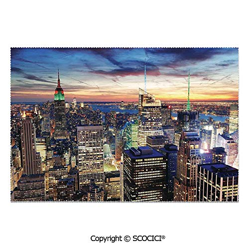SCOCICI Set of 6 Printed Dinner Placemats Washable Fabric Placemats Skyline of NYC with Urban Skyscrapers at Sunset Dawn Streets USA Architecture for Dining Room Kitchen Table Decoration