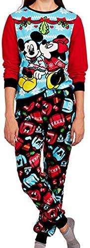 Disney Minnie /& Mickey Womens Christmas Holiday Ugly Sweater Pajamas