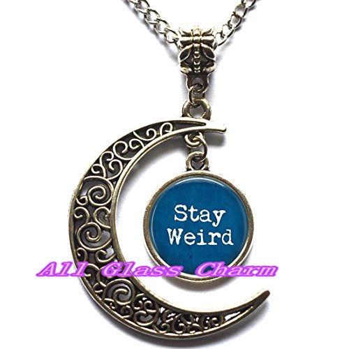 Stay Weird Necklace - Funny Quote Jewelry - Freak Flag - Gift for Friend - Funny Birthday (Nerdy Halloween Ideas)