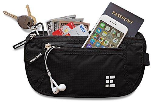 Zero Grid Money Belt w/RFID Blocking - Concealed Travel Wallet & Passport (Music Money Clip)