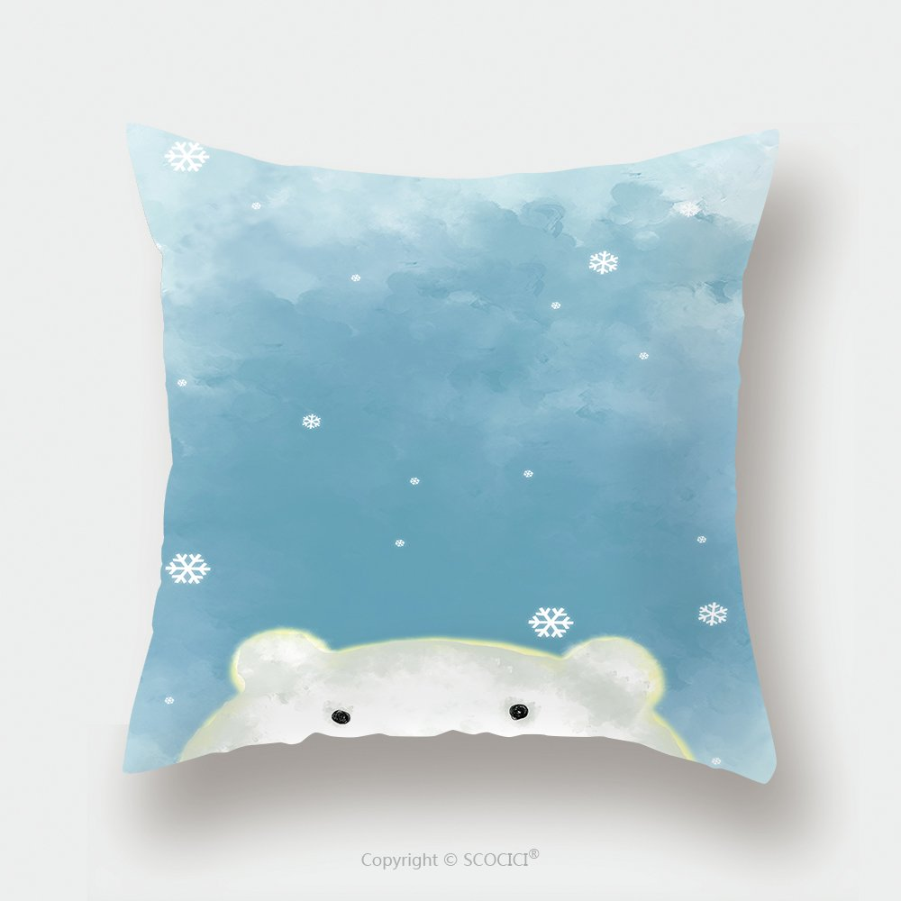 Custom Satin Pillowcase Protector Illustration Drawing Of White Polar Bear Over Blue Painting Grunge Background With Snow Flakes 487010851 Pillow Case Covers Decorative by chaoran