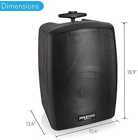 Wireless Portable PA Speaker System – 360W Bluetooth Compatible Battery Powered Rechargeable Outdoor DJ Sound Speaker Microphone Set with MP3 USB SD FM Radio RCA 1 4 Mic in Wheels – Pyle PPHP8MBA