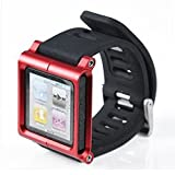Micropromo Aluminum Watch Band Wrist Cover Case Red Color Band Bracelet for Apple iPod Nano 6