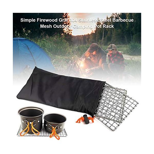 51 YaNqXrNL 304 Edelstahl Grillnetz, Backblech, Grill Mesh Outdoor Camping Topfhalter, Mini Outdoor Grill, Camping Grill Gadgets…