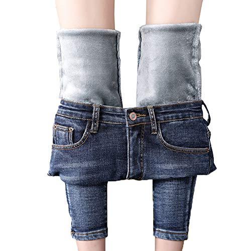 Velvet Jeans Pants (heipeiwa Women's Jeans Fleece Lined Slim Fit Winter Pants Denim Skinny Mid Rise Jeans)