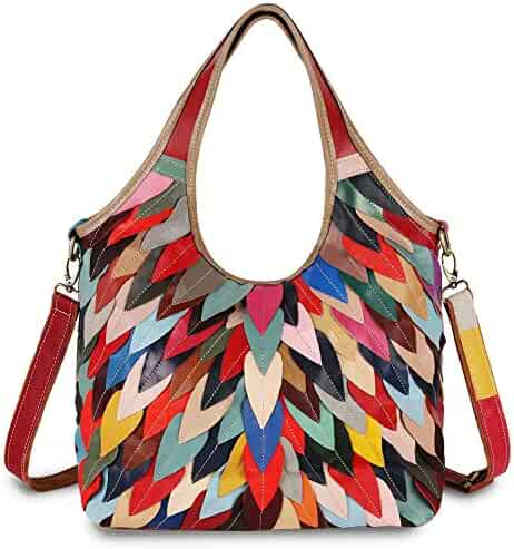 6c2aa16efbc2 YALUXE Women s Soft Leather Multicolor Purse Crossbody Shoulder Bag  colorful Hobo Bags