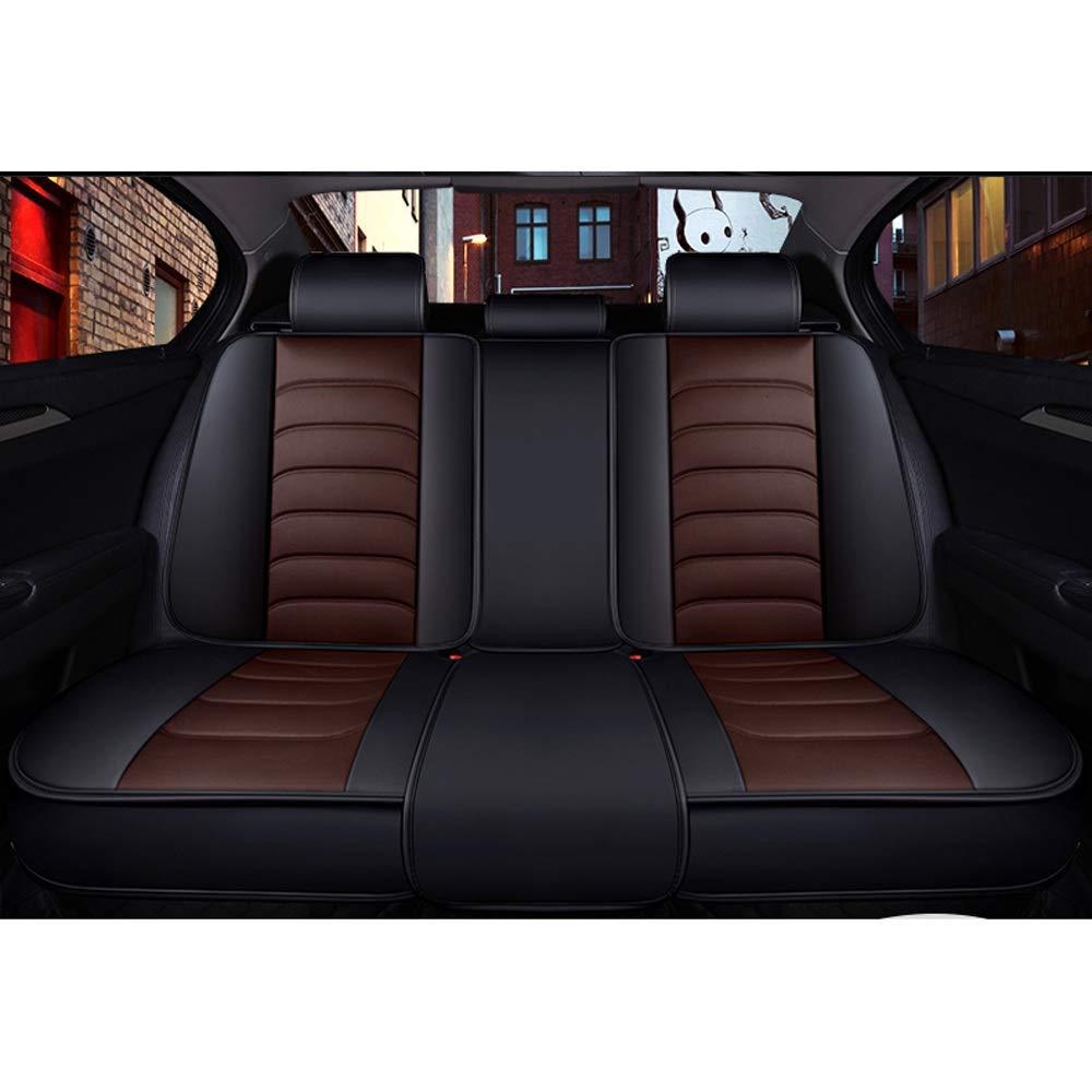 Color : Black DaFei Fundas para Asientos de Autom/óvil Juego Completo de 5 Asientos Airbags Compatibles Delanteros Y Traseros Coj/ín Protector de Confort de Cuero Transpirable