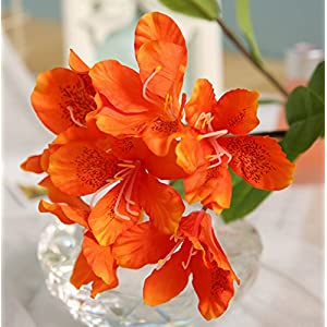 Skyseen 3PCS Artificial Flowers Azalea Blossoms Fake Rhododendron for Home Decor 2