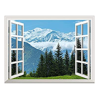 Wall26 Removable Wall Sticker/Wall Mural - Snow Mountain and Pine Trees Out of The Open Window Creative Wall Decor- 36