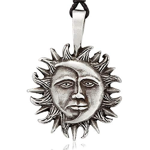 Namaste Jewelers Rebirth Sun Moon Face Pendant Necklace Pewter Jewelry (Pendant Pewter Face)