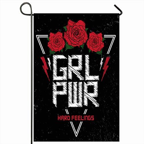 Ahawoso Outdoor Garden Flag 12x18 Inches Flower Emblem Red Feminism Girl Power Patch Badge Vintage Applique Cool Drawing Fun Design Floral Seasonal Double Sides House Yard Sign