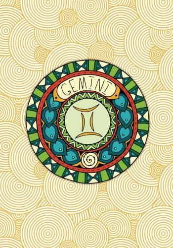 Gemini: (7 x 10)(Dot Grid) Blank Journal Notebook Organizer Planner Sketchbook Gratitude Diary Zodiac Astrology Horoscope Air Sign Symbol Round Medallion PDF
