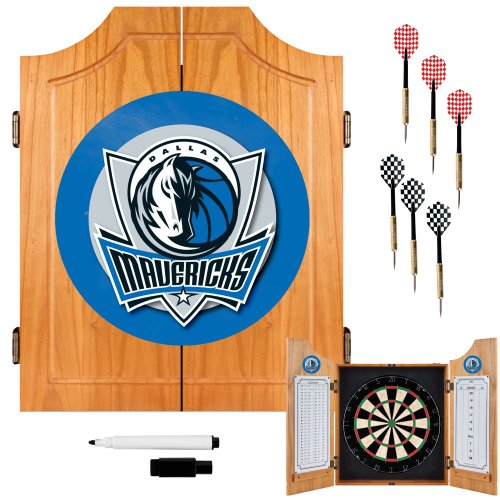 NBA Dallas Mavericks Wood Dart Cabinet Set by Trademark Gameroom