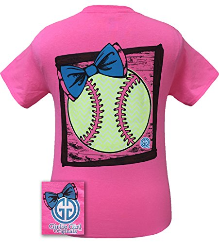 - Girlie Girl Originals Women's Preppy Softball T-Shirt Medium, Safety Pink