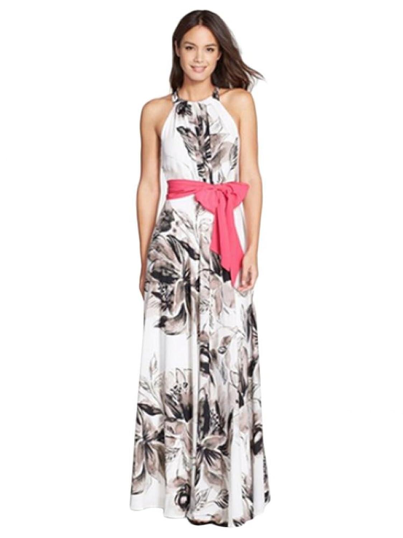 xiaoming Women's Flower Sexy Halterneck Sleeveless Floral Printed Maxi Dress