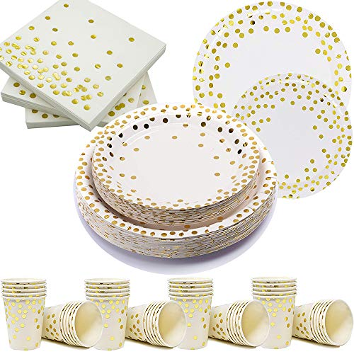 200Pcs Gold Dot Disposable Paper Plates, Cup, Napkin Set - 50 Dinner and Dessert Plates, 50 Cups and Napkins - Engagement Birthday Wedding Bridal Bachelorette Baby Shower Party Plates, Dinnerware Sets