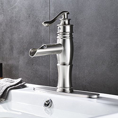 Rozin LED Light Waterfall Single Handle Basin Faucet with 8-inch Deck Plate Brushed Nickel by Rozin (Image #6)