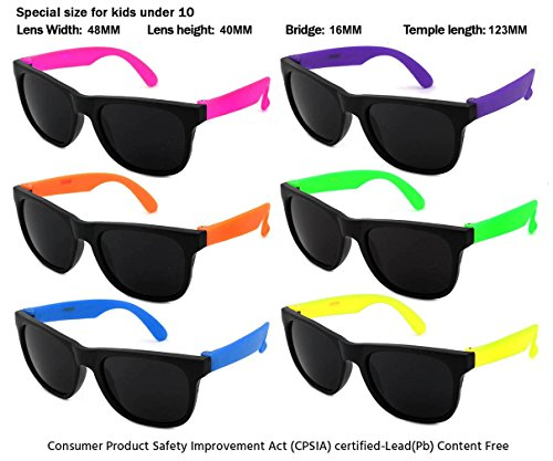 Edge I-Wear 6 Pack Neon Sunglasses with CPSIA certified-Lead(Pb) Content Free and UV 400 Lens (Made in Taiwan) (Kid-MultiColor, Black)