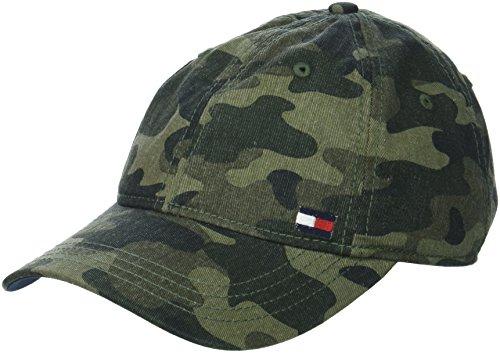 (Tommy Hilfiger Men's Dad Hat Billy Corner Flag Cap, Camo, O/S)