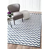 """Contemporary Chevron Vibe Zebra Light Blue Area Rugs, 3 Feet 10 Inches by 5 Feet 7 Inches (3' 10"""" x 5' 7"""")"""