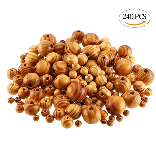 Wood 6mm Round Beads - CCINEE 240 Piece Natural Spacer Wood Beads Pine Polished Loose Beads with Mixed Sizes for Jewelry Making Crafts DIY Accessory