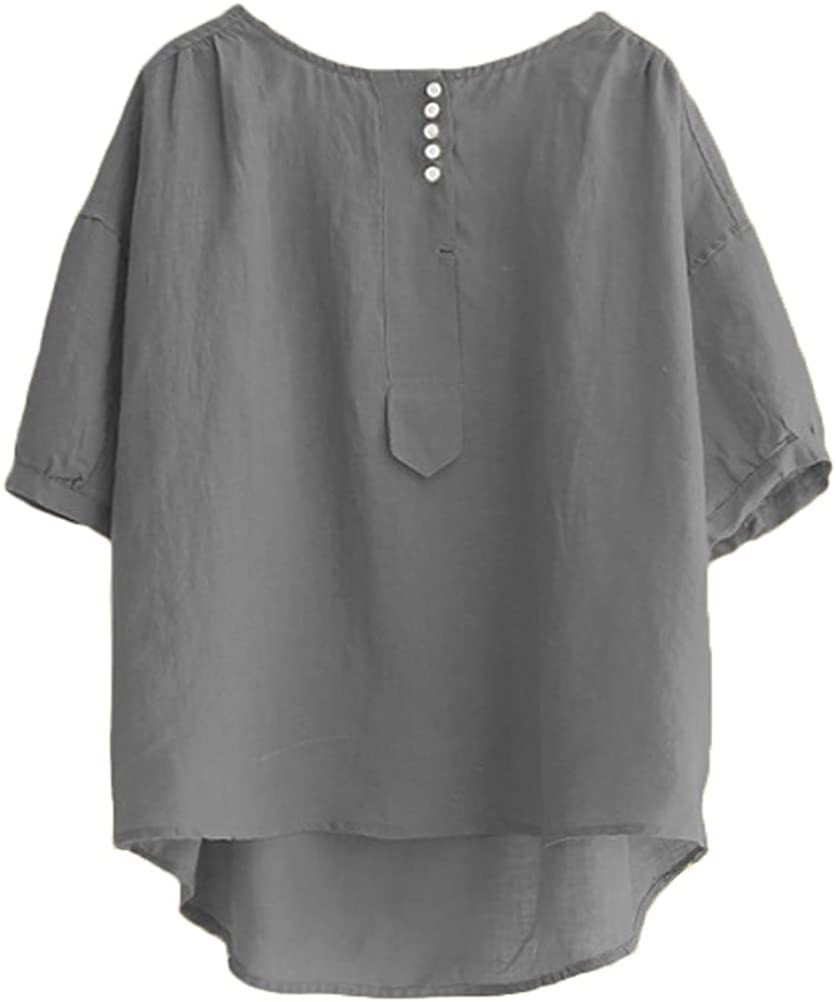 Minibee Women's Hi-Low Tunics Blouse Loose Cotton Linen Shirt for Women Tops