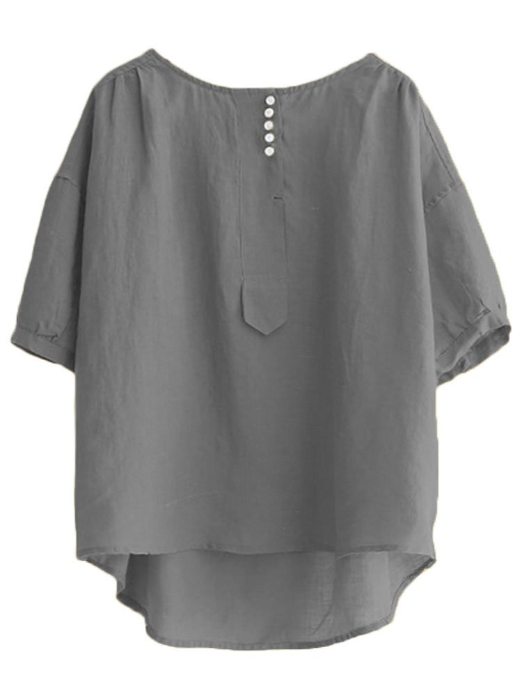 Minibee Women's Hi-low Tunics Blouse Loose Linen Shirt Tops M Gray