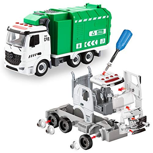 JOYIN Jumbo Take Apart Friction Powered Side-Dump Recycling Garbage Truck Toy with Light and Sounds, 3 Trash Cans, Screwdriver Toys, for DIY Assembly