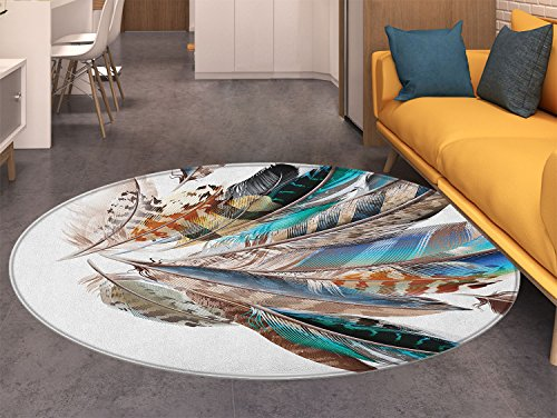 Feathers small round rug Carpet Vaned Types and Natal Contour Flight Bird Feathers and Animal Skin Element Print door mat indoors Bathroom Mats Non Slip Teal Brown