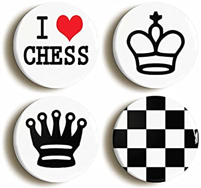 Chess Player Button Pin Set (Size is 1inch diameter) King Queen Board